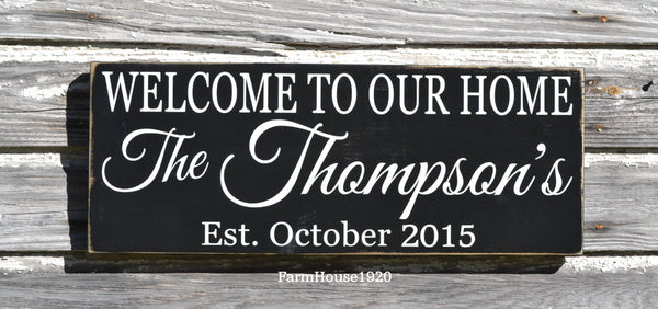 Personalized Family Sign, Custom Name Signs, Welcome Sign, Wedding Gift, Last Name Established Plaque, Custom House Gifts, Welcome To Signs - The Sign Shoppe - 1