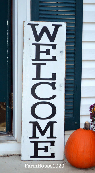 Large Outdoor Welcome Sign, Rustic Vertical Welcome Wood Sign, Custom Porch House Signs Door Entryway Plaque Family Gift Fall Winter - The Sign Shoppe - 3