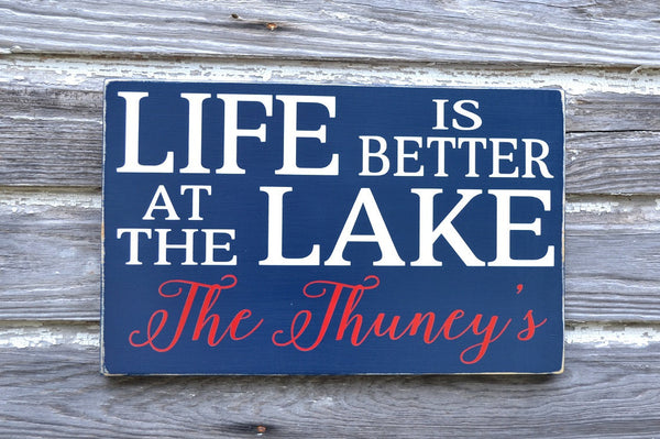 Lake House Decor, Personalized Lake Sign, Life Is Better At The Lake Family Last Name Wood Plaque, Lakeside Living River Cabin Cottage Gift - The Sign Shoppe - 3