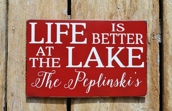 Lake House Decor, Personalized Lake Sign, Life Is Better At The Lake Family Last Name Wood Plaque, Lakeside Living River Cabin Cottage Gift - The Sign Shoppe - 4