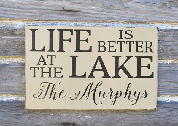Lake House Decor, Personalized Lake Sign, Life Is Better At The Lake Family Last Name Wood Plaque, Lakeside Living River Cabin Cottage Gift - The Sign Shoppe - 5