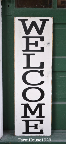 Large Outdoor Welcome Sign, Rustic Vertical Welcome Wood Sign, Custom Porch House Signs Door Entryway Plaque Family Gift Fall Winter - The Sign Shoppe - 4
