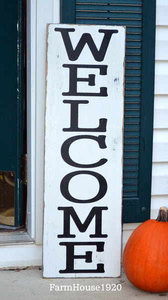 Large Outdoor Welcome Sign, Rustic Vertical Welcome Wood Sign, Custom Porch House Signs Door Entryway Plaque Family Gift Fall Winter - The Sign Shoppe - 1