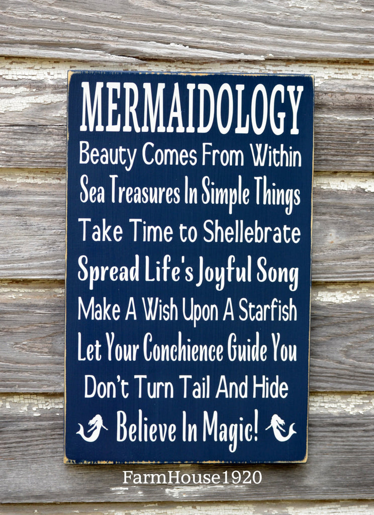 Mermaid Sign, Beach Decor, Mermaid Girls Wall Art, Nautical Nursery, Advice From Wisdom Mermaidology Inspirational Poem, Unique Beach Gift - The Sign Shoppe - 1