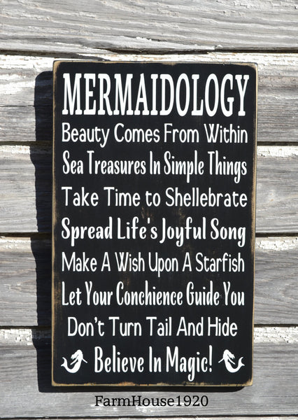 Mermaid Sign, Beach Decor, Mermaid Girls Wall Art, Nautical Nursery, Advice From Wisdom Mermaidology Inspirational Poem, Unique Beach Gift - The Sign Shoppe - 2