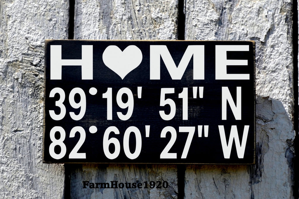 Latitude Longitude Sign, Rustic Hand Painted Wooden Signs,Personalized Coordinates Sign GPS Place Plaque House Warming Wedding Gift New Home - The Sign Shoppe
