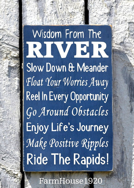 River House Decor - River Sign - Wisdom From The River Sign - Advice River Rules Wood Plaque - Lake Home Gift - Cabin Cottage Wall Hanging - The Sign Shoppe - 2
