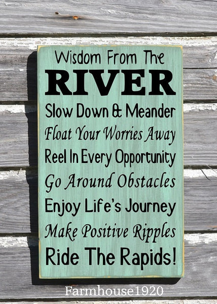 River House Decor - River Sign - Wisdom From The River Sign - Advice River Rules Wood Plaque - Lake Home Gift - Cabin Cottage Wall Hanging - The Sign Shoppe - 1