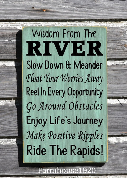 River House Decor - River Sign - Wisdom From The River Sign - Advice River Rules Wood Plaque - Lake Home Gift - Cabin Cottage Wall Hanging - The Sign Shoppe - 3