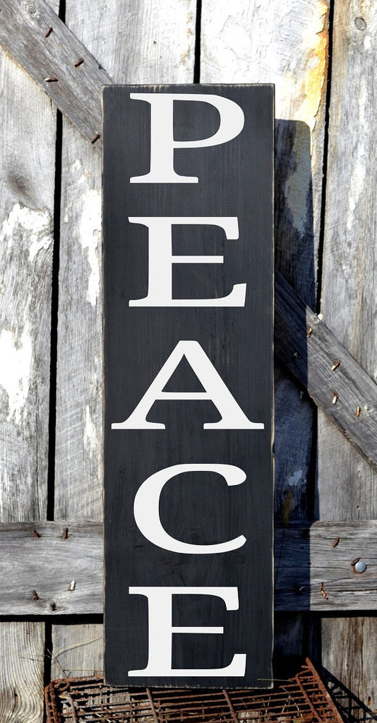 Outdoor Christmas Decorations, LARGE Christmas Sign, Peace Wooden Signs, Porch Entry Yard Door Signs, Rustic Holiday Decor - The Sign Shoppe