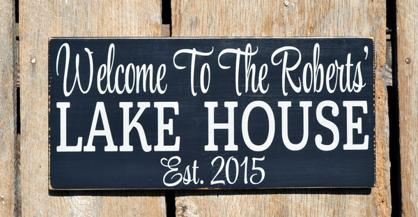 Lake House Decor Signs,Personalized Lake House Family Name Wood Sign,Lakeside Life Memories Gifts,New Home Plaque,Last Name Gift,Wood Sign