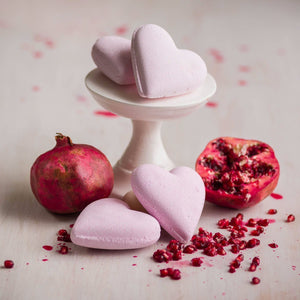 heart bath bomb with pomegranate and mandarin fragrance
