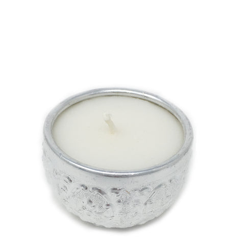 small candle in reusable bowl