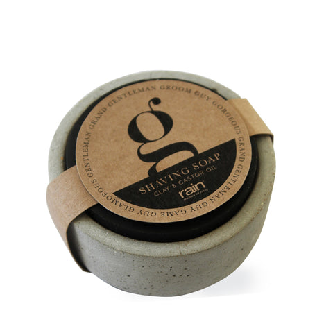 man: potted shaving soap-Rain Africa