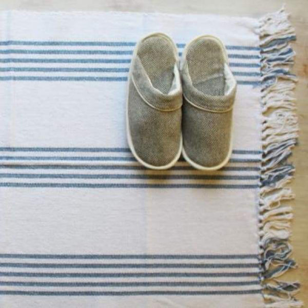 blue cotton bath mat small