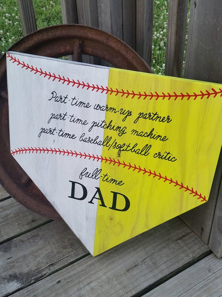 Baseball Softball Dad Sign - Homeplate Sign - Baseball Dad Gift - Home Plate Wall Sign - Sports Sign - Softball Decor - Gift for Dad Father