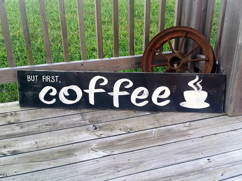 Large Coffee Sign - Coffee Bar Decor - Coffee Mug Holder - Distressed Kitchen Decor - Coffee Wall Art - But First Coffee Sign With Hooks