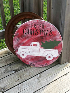 Christmas Sign - Wood Christmas Tree - Antique Truck Decor - Fresh Christmas Trees - Wooden Wall Art - Holiday Decor - Ready to Ship Gift