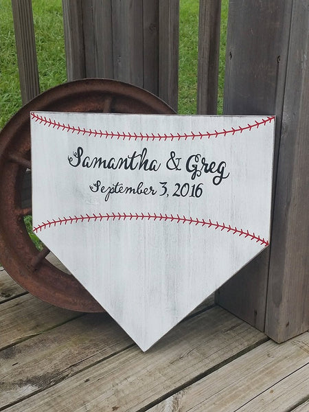 Baseball Sign - Wedding Guestbook Alternative - Baseball Wedding - Wedding Decor - Home Plate Guestbook - Personalized Wood Sign - Wooden