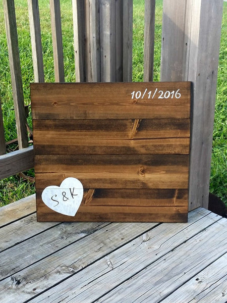 Wedding Guestbook Alternative - Wooden Wedding Sign - Rustic Wood Guestbook - Wedding Decor - Heart Guestbook - Personlized Guestbook