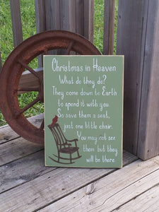 Christmas Sign - Christmas in Heaven - Holiday Decor - Wood Christmas Plaque - Memorial Sign - Family Together Sign - Chair Decor - Cardinal