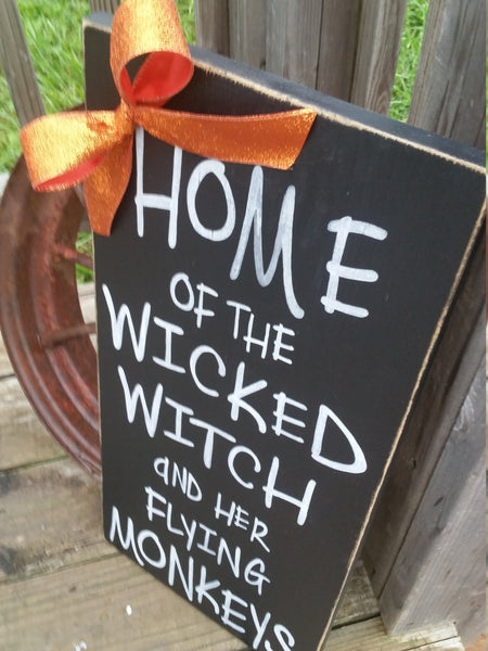 Halloween Sign - Wicked Witch and Her Flying Monkeys - Rustic Witch Sign - Halloween Decor - Wood Decor - Front Door Decor
