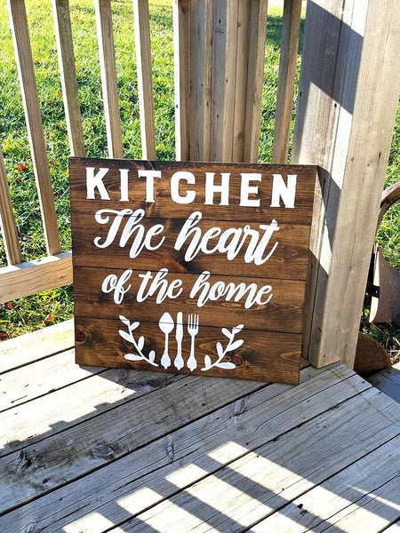Kitchen Sign - Wood Kitchen Decor - Rustic Wooden Sign - Kitchen The Heart of the home - Large Wood Sign - Home Decor - Family Sign