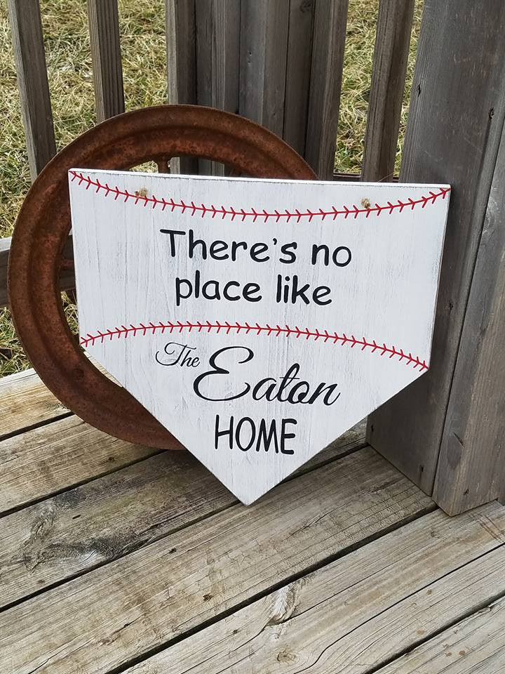 Baseball Sign - Homeplate Sign - Front Door Decor - Softball Sign - Last Name Wood Sign - Family Name Sign - Wooden - Gift for Friends