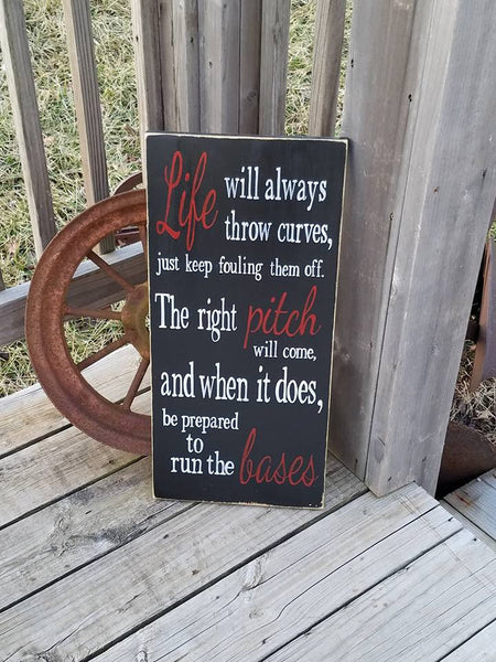 Baseball Softball Sign - When life throws you curves - Baseball plaque - Gift for Baseball Player - Baseball Family - Inspiration Quote