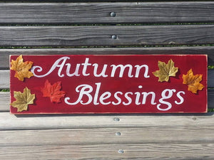 Autumn Blessings Wood Sign - Fall Leaves Wooden Sign - Hand Painted Seasonal Wall Decor - Leaves - Distressed Thanksgiving Signs