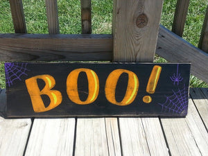 Wooden Halloween Sign - Boo Sign - Halloween Wall Decor - Spider Web Wall Hanging - Trick or Treat - Rustic Halloween Decor - Spooky