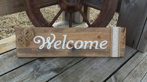 Welcome Sign - Stained Rustic Front Door Wall Hanging - Burlap Lace Decor - Wooden Sign - Wood Sign - Entrance Decoration Burlap Flower