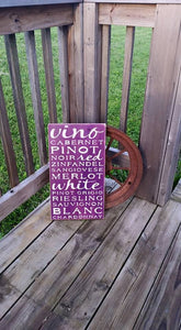 Rustic Wine Sign - Wooden Distressed Wine Sign - Red Wine Kitchen Typography Subway Art Cabernet Vino Noir Merlot Chardonnay Pinot Rieslingt