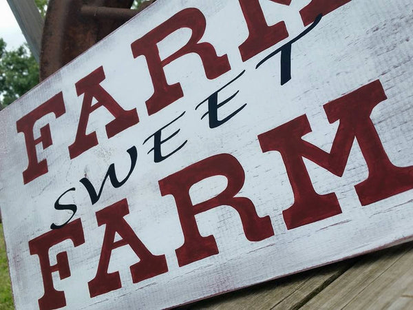 Farm Sweet Farm Wooden Sign - Family Home Sign - Distressed Farm Wall Hanging - Rustic Home Decor - Home Sweet Home –