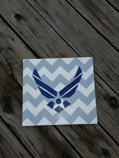 Air Force Sign - Wooden Military Sign - Wood Sign Air Force - Military Home Decor - Chevron Air Force Sign - Wall Hanging
