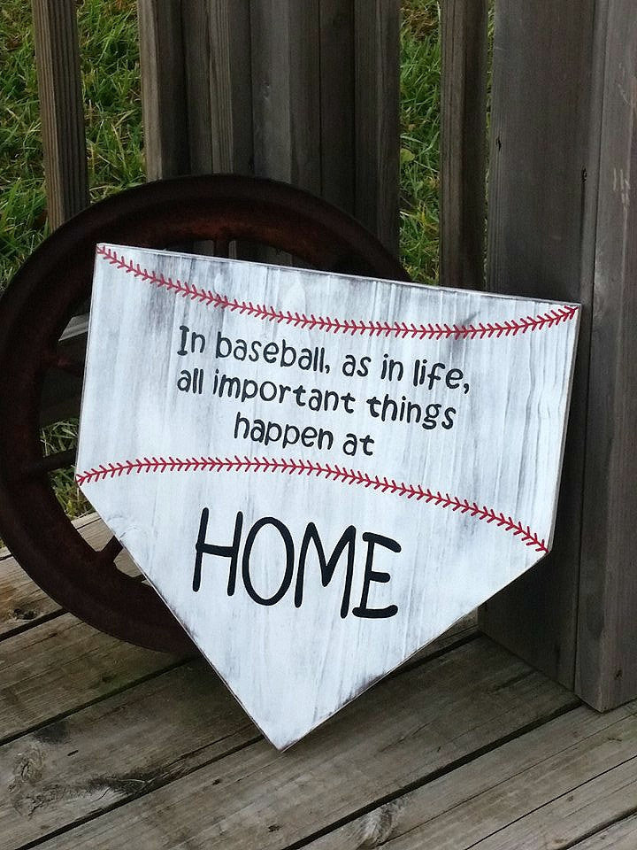 Baseball Sign - Homeplate Sign - Wooden Softball Sign - Home Plate Wall Sign - Sports Sign - Softball Decor - In Baseball As In Life