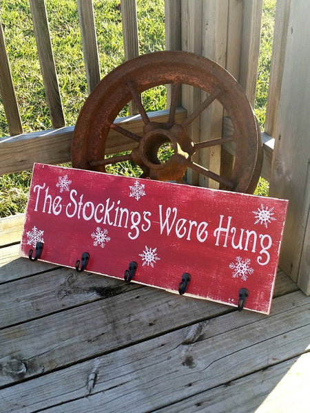 Stockings Sign - The Stockings Were Hung - Snowflake Sign - Christmas Stocking Hanger - Rustic Christmas Sign - Holiday Wall Decor - Art