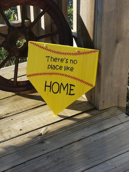 Softball Sign - Theres No Place Like Home - Wooden Softball Sign - Home Plate Wall Decor - Gift for Softball Player - Girls Softball Decor