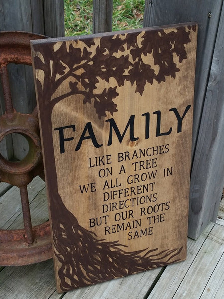 Wooden Family Sign - Family Roots Sign - Stained Rustic Sign - Family Wall Decor - Tree Sign - Like Branches On A Tree Roots Remain The Same
