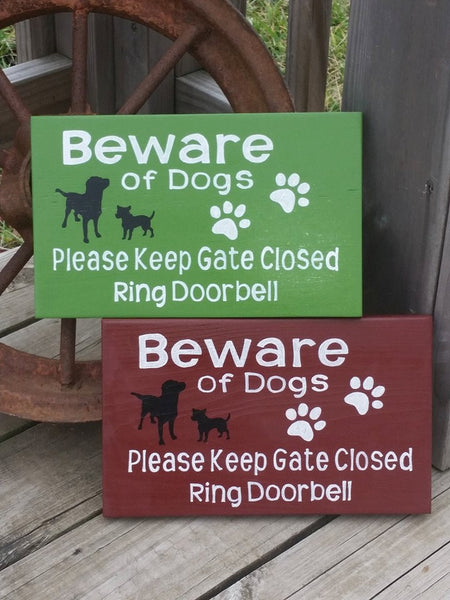 Beware of Dog Sign - Please Keep Gate Closed - Great Dane on Duty - Hand Painted Wooden Gate Signs - Custom Dog Sign - Pitbull - Boxer