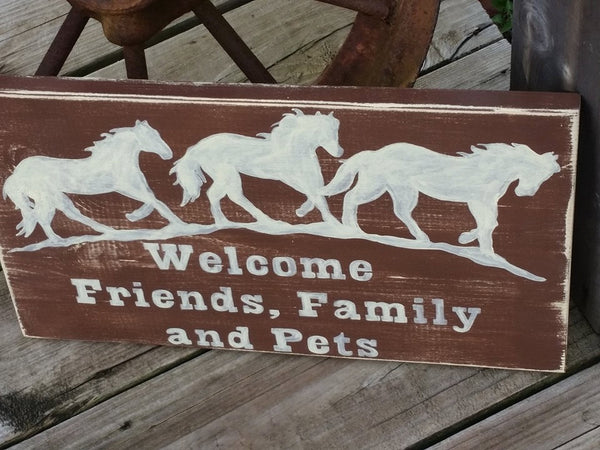 Wooden Horse Sign - Welcome Friends Horse Sign - Wood Horse Decor - Painted Welcome Sign - Friends Welcome Horses - Ranch Decor - Country