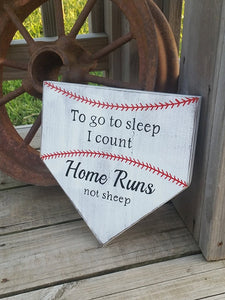 Baseball Nursery Decor - To Go To Sleep I Count Homeruns Not Sheep - Baby Baseball Sign - Baseball Decor Baby - Baseball Sign - Home Plate