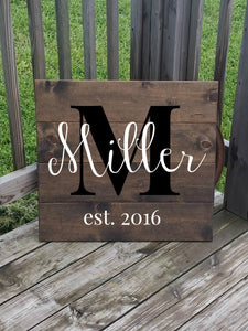 Personalized Family Name Sign - Last Name Sign - Large Wooden Sign - Gift for Family - Wedding Gift - Rustic Wood Name Sign -