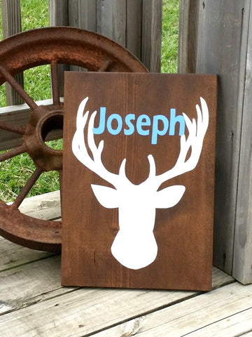 Deer Sign - Personalized Name Sign - Gift for Baby - Baby Deer Sign - Deer Nursery - Deer Head Sign - Baby Room Decor - Deer Plaque - Wood