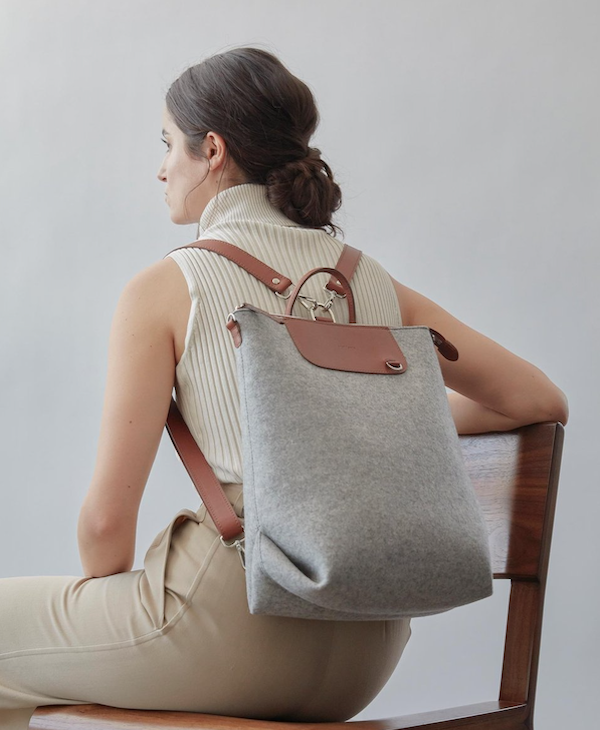 Graf Lantz Bedford Backpack-Granite felt/Sienna Leather