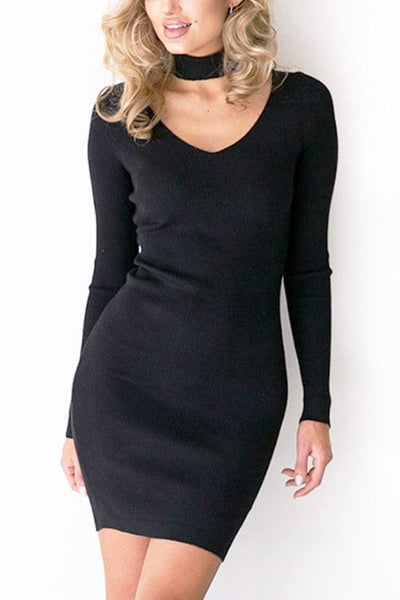 Aidra Choker Mini Dress Dress - Small / Black - Dress