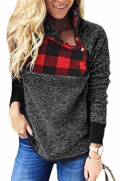 Aspen Colorblock Pullover - Small / Dark Gray/Plaid - sweater