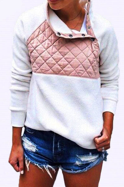 Aspen Colorblock Pullover - Small / White/Pink - sweater
