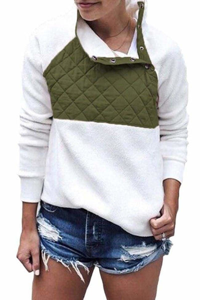 Aspen Colorblock Pullover - XXLarge / White/Olive - sweater