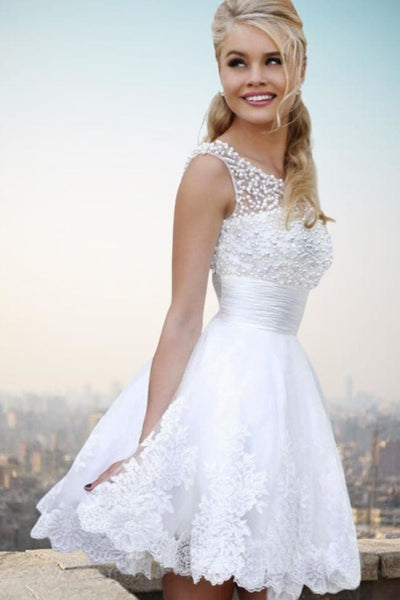 Ava Lace Short Wedding Dress - Wedding Dress
